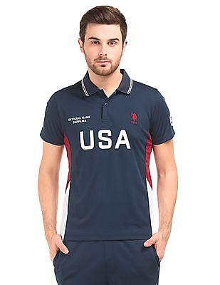 USPA Active Mesh Panel Printed Polo Shirt