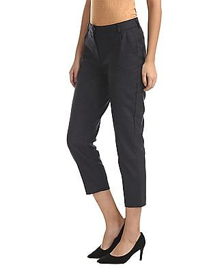 Elle Studio Grey Pleated Check Trousers