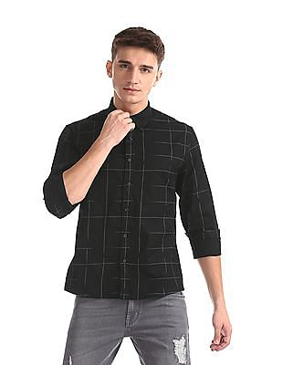 Colt Black Spread Collar Printed Shirt