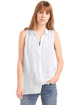 GAP Women White Sleeveless Shirred Shirt