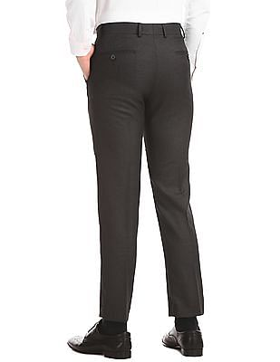 Excalibur Grey Flat Front Solid Trousers
