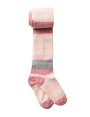 GAP Girls Pink Crazy Stripes Sweater Tights