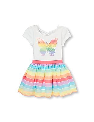 The Children's Place Toddler Girl Short Sleeve Sequin Butterfly Rainbow Knit-To-Woven Dress