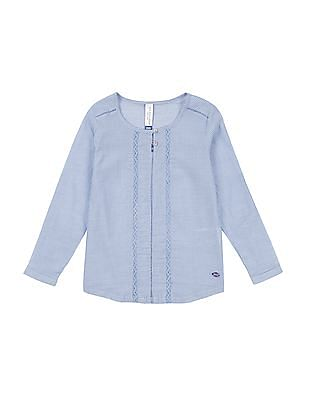 U.S. Polo Assn. Kids Girls Lace Trim Pinstripe Top