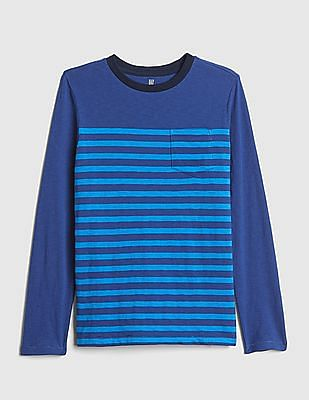 GAP Boys Stripe Pocket Long Sleeve T-Shirt