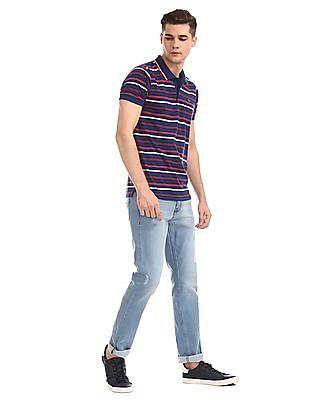 Ruggers Blue Short Sleeve Horizontal Stripe Polo Shirt