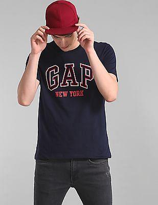 GAP Men Blue Crew Neck City Arch T-Shirt