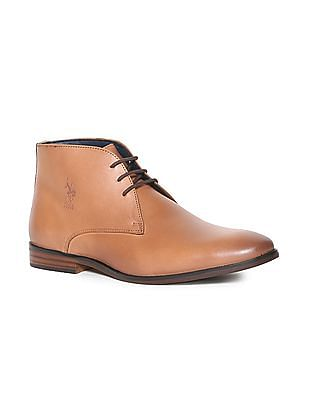 U.S. Polo Assn. Brown Burnished Leather Chukka Boots