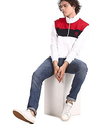 U.S. Polo Assn. White High Neck Colour Block Sweatshirt
