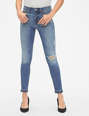 GAP Women Blue True Skinny Ankle Jeans With Distressed Detail