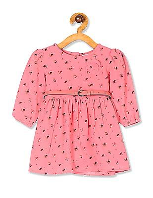 Donuts Pink Girls Printed Fit And Flare Dress