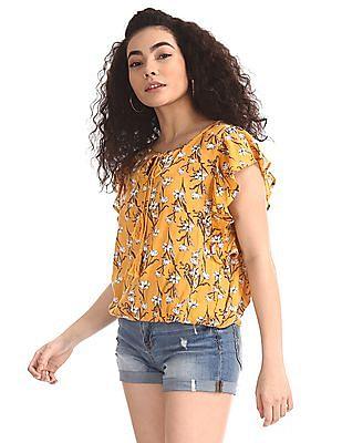 SUGR Yellow Elasticized Hem Floral Print Top