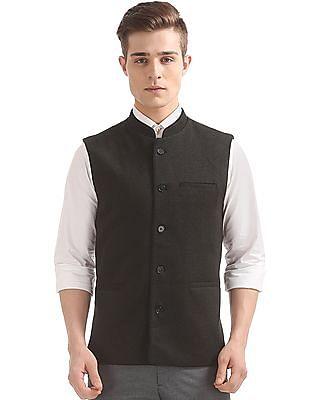 Arrow Slim Fit Printed Nehru Jacket