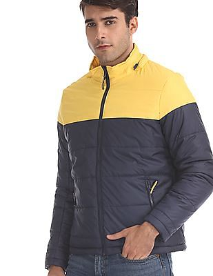 Flying Machine Blue Detachable Hood Puffer Jacket