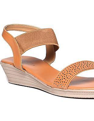 Bronz Laser Cut Open Toe Sandals