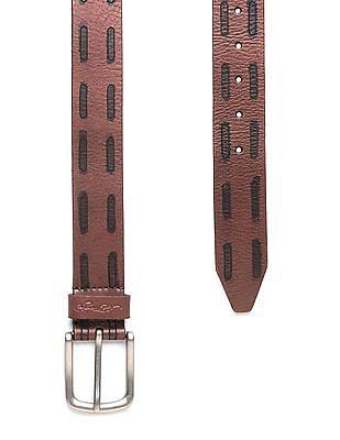 Ed Hardy Contrast Pattern Leather Belt