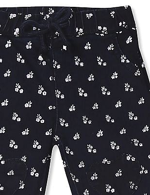 Donuts Blue Girls Floral Print Cropped Jeans