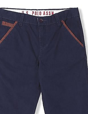 U.S. Polo Assn. Kids Boys Flat Front Solid Trousers
