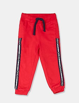 U.S. Polo Assn. Kids Girls Red Drawstring Waist Brand Taping Joggers