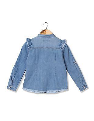 U.S. Polo Assn. Kids Girls Patterned Denim Shirt