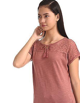 Cherokee Pink Lace Panel Tie Up Neck Top