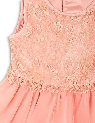 Elle Kids Girls Lace Yoke Fit And Flare Dress