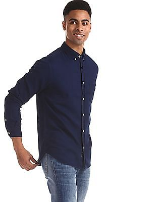 Aeropostale Blue Button Down Collar Solid Shirt