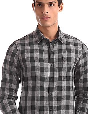 Arrow Sports Brown And Grey Slim Fit Check Shirt