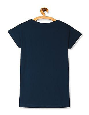 SUGR Blue Tasselled Accent Printed T-Shirt