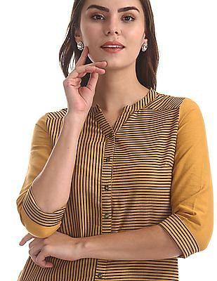 Karigari Yellow Mandarin Neck Striped Kurta