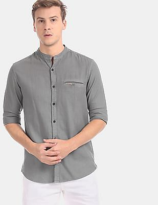 U.S. Polo Assn. Denim Co. Men Grey Mandarin Collar Welt Pocket Casual Shirt