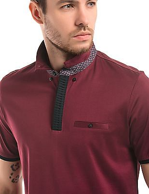 True Blue Solid Button Down Polo Shirt