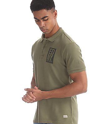 Ed Hardy Green Brand Print Pique Polo Shirt
