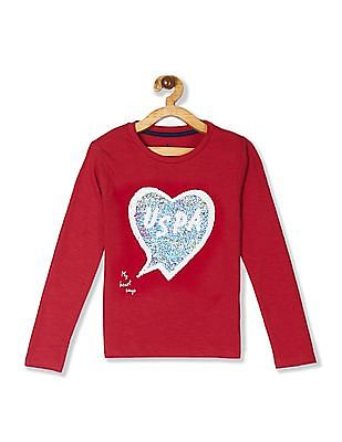 U.S. Polo Assn. Kids Red Girls Flippy Sequin Slub T-Shirt