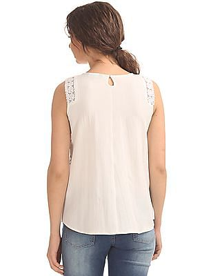 Cherokee Printed Front Lace Trim Top