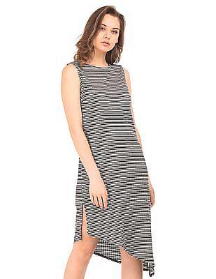 Elle Striped Ribbed Knit Dress