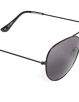 Flying Machine Black Round Frame UV Protected Sunglasses