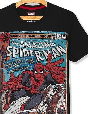 Flying Machine Black Regular fit Marvel Print T-Shirt