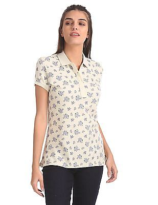 U.S. Polo Assn. Women Floral Print Pique Polo Shirt