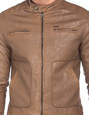 Flying Machine Textured Faux Leather Biker Jacket