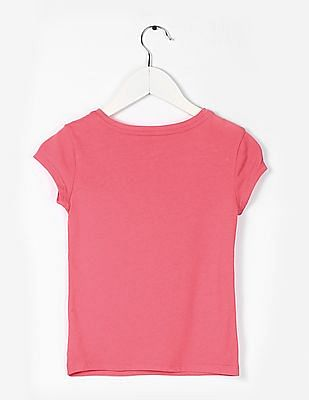 GAP Girls Pink Graphic Print Round Neck T-Shirt