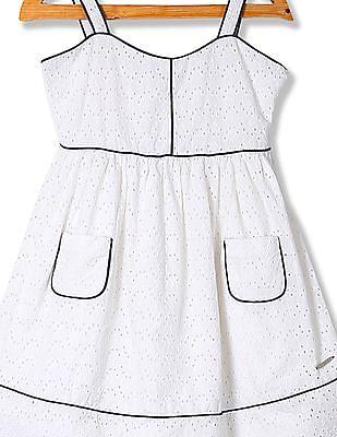 U.S. Polo Assn. Kids Girls Embroidered Sleeveless Empire Waist Dress