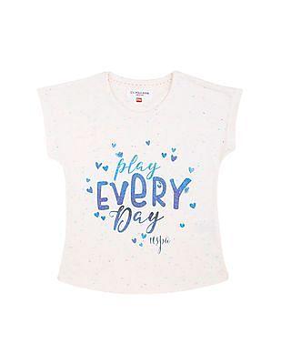 U.S. Polo Assn. Kids Girls Short Sleeve Glitter Print Top