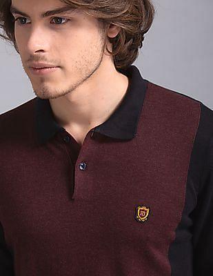 True Blue Red Colour Block Cotton Viscose Polo Shirt