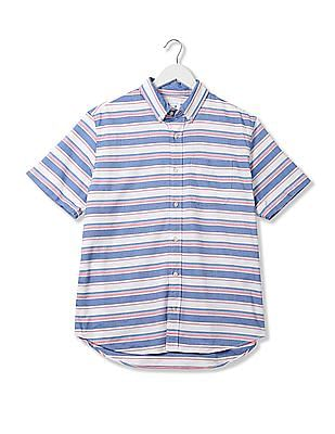 GAP Men Multi Colour Oxford Short Sleeve Shirt In Stretch
