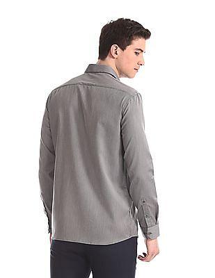 Arrow Newyork Grey French Placket Patterned Shirt