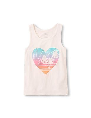 The Children's Place Girls Sleeveless Graphic Racer-Back Top