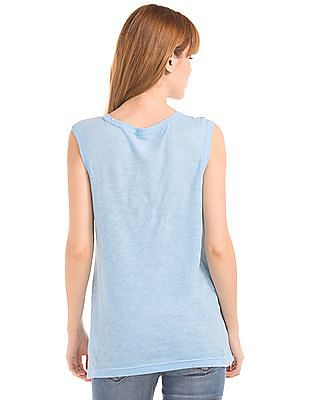 GAP Women Blue Graphic Muscle Tank