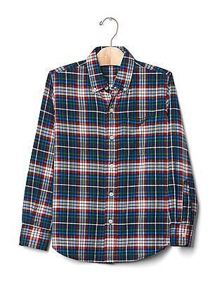GAP Toddler Boy Blue Plaid Button-Down Flannel Shirt