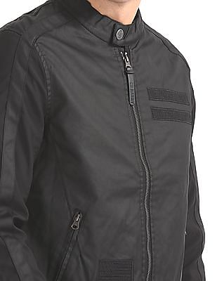 Ed Hardy Panelled Zip Up Biker Jacket
